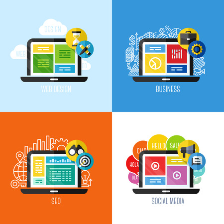 Design elements set for websites, mobile apps and printed materials Vector