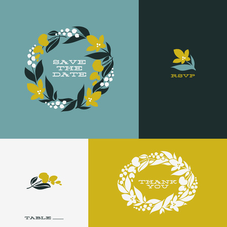 Floral wreath  Set of beautiful flat vector design elements Vector