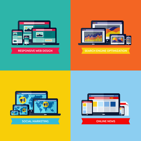 responsive web design: Modern flat concepts of web design