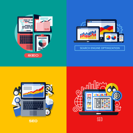 optimize: Modern flat vector concepts of search engine optimization  SEO   Icons set for websites, mobile apps and printed materials