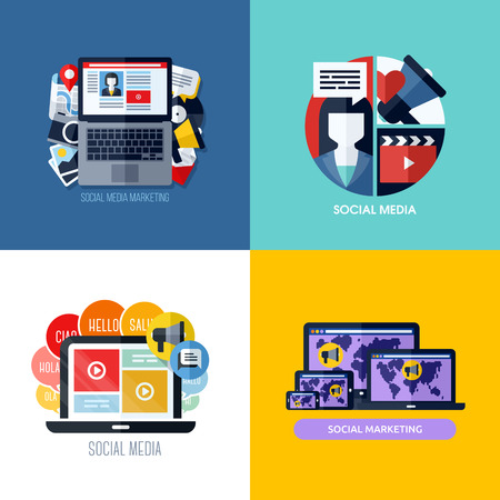 Modern flat concepts of social media marketing   Vector