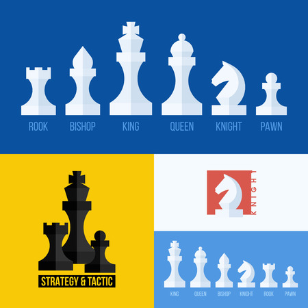 Modern flat set of chess icons Vector