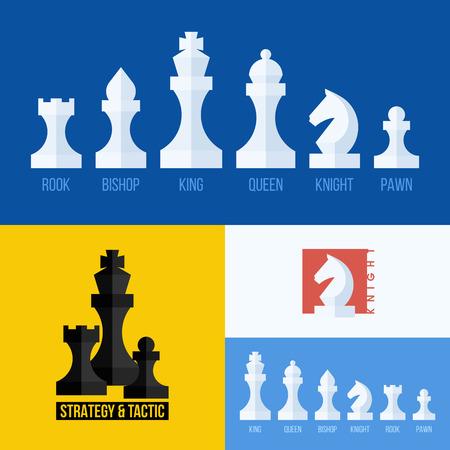 rycerz: Nowoczesne mieszkanie zestaw ikon szachy Ilustracja
