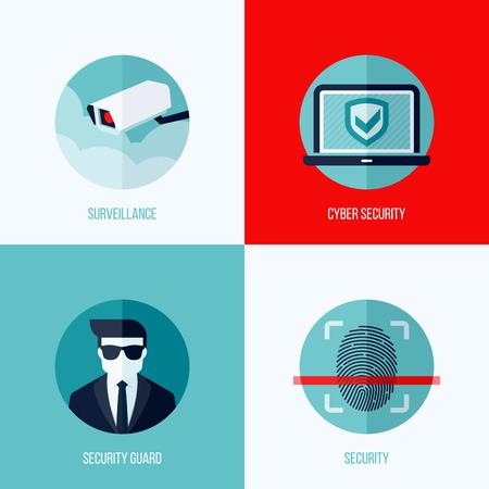 people  camera: Conceptos planos modernos de seguridad y vigilancia