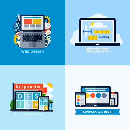 Modern flat concepts of responsive web design