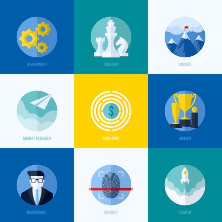 mision: Conceptos planas modernas para sitios web, aplicaciones m�viles y los materiales impresos Vectores