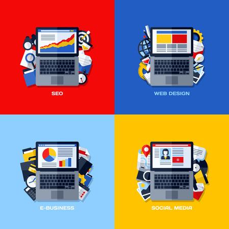 Modern flat concepts of SEO, web design, e-business, social media Vector