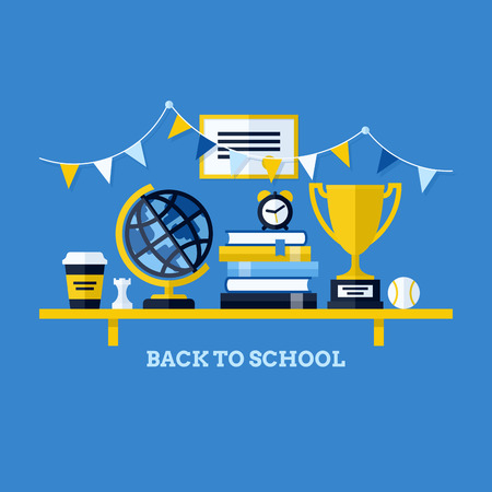 Back to school flat vector illustration with desk and school supplies  Creative design elements for websites, mobile apps and printed materials Vector