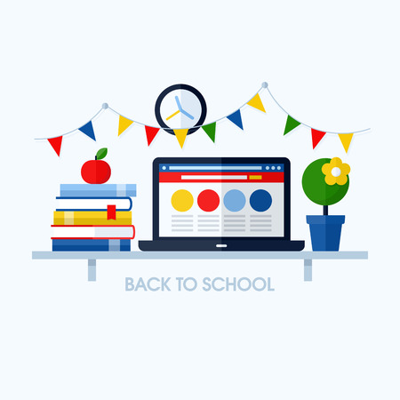 apple computers: Back to school flat vector illustration with desk and school supplies  Creative design elements for websites, mobile apps and printed materials Illustration
