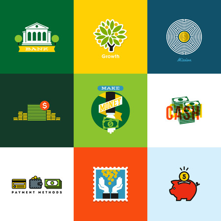 Flat vector geld concepten Creative iconen van portemonnee, bank, contant geld, groei, piggy bank, munten Stock Illustratie