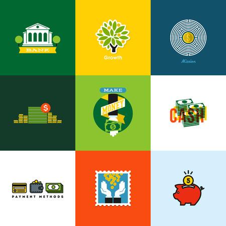 banco dinero: Vector Flat conceptos de dinero iconos creativos de la cartera, la banca, dinero en efectivo, el crecimiento, hucha, monedas