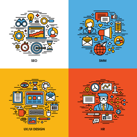 megafono: Iconos línea plana conjunto de SEO, SMM, la interfaz de usuario y diseño UX, HR. Elementos de diseño creativos para sitios web, aplicaciones móviles y los materiales impresos