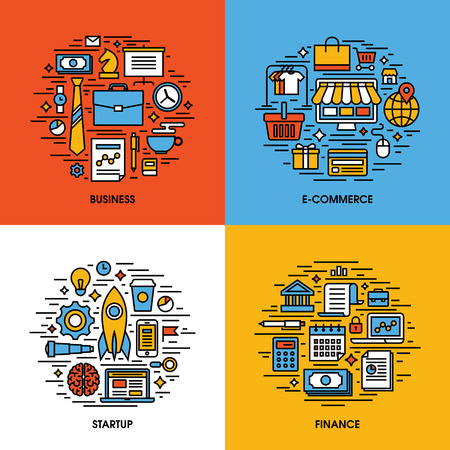 contents: Flat line icons set of business, e-commerce, startup, finance. Creative design elements for websites, mobile apps and printed materials
