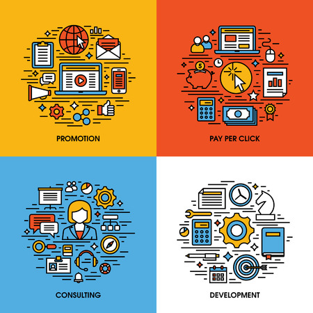 Flat line icons set of promotion, pay per click, consulting, development. Creative design elements for websites, mobile apps and printed materials Vector