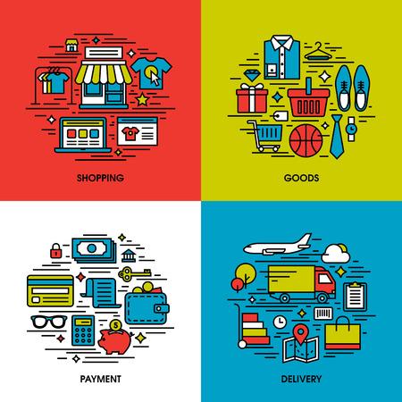 Iconos línea plana conjunto de compras, bienes, pago, entrega. Elementos de diseño creativos para sitios web, aplicaciones móviles y los materiales impresos Vectores