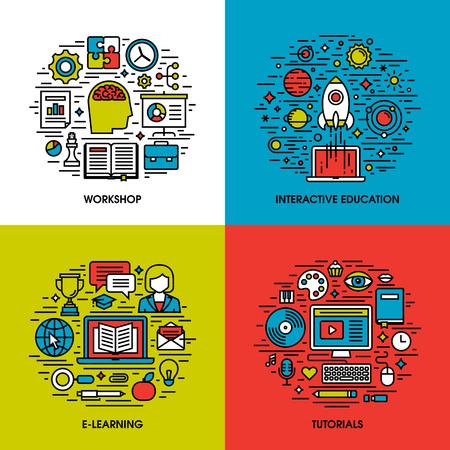 estudiando: Iconos l�nea plana conjunto de talleres, educaci�n interactiva, e-learning, tutoriales. Elementos de dise�o creativos para sitios web, aplicaciones m�viles y los materiales impresos