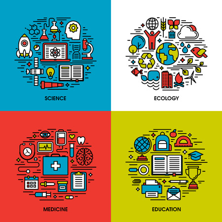 knowledge concept: Flat line icons set of science, ecology, medicine, education. Creative design elements for websites, mobile apps and printed materials