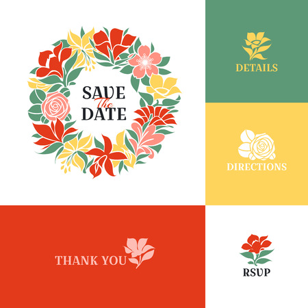 Floral wreath Flat colorful design Vector