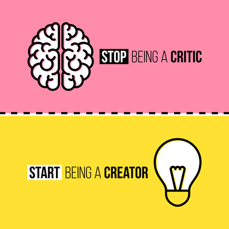 Flat line icons of brain and light bulb. Critic vs. creator concept Ilustrace