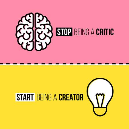 Vlakke lijn iconen van de hersenen en de gloeilamp. Criticus versus schepper begrip