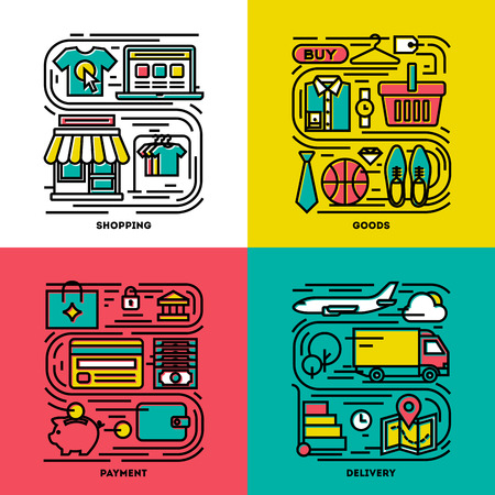 Flat line icons set of shopping, goods, payment, delivery Vector