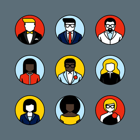 Flat line avatars of Male and female user icons Vector