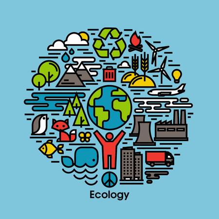 contaminacion ambiental: Verde, ecología y medio ambiente de la línea plana iconos conjunto