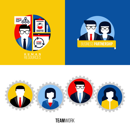 Modern flat vector icons of human resources, business partnership, teamwork