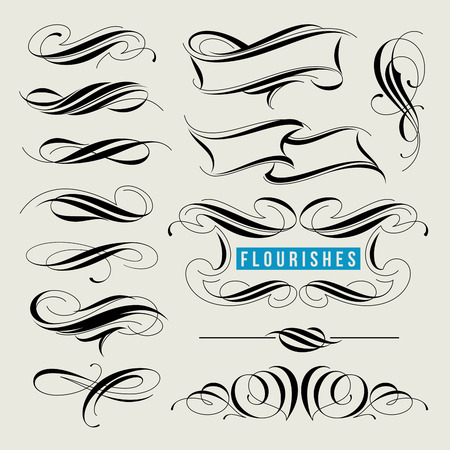 calligraphic design: Set of decorative design elements, calligraphic flourishes and page decor
