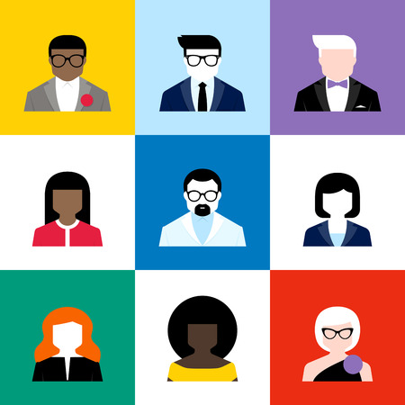 male face profile: Modern flat vector avatars set. Colorful male and female user icons