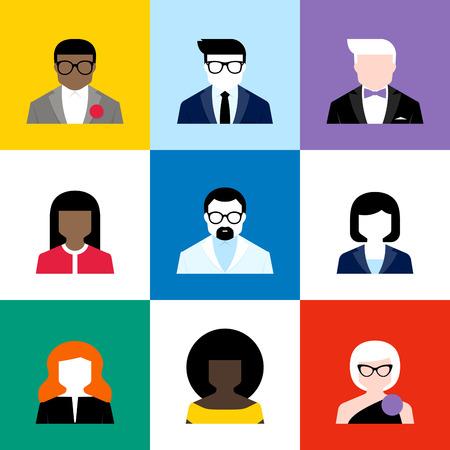 la société: Modernes avatars de vecteur plat fixés. Colorful icônes d'utilisateurs masculins et féminins Illustration