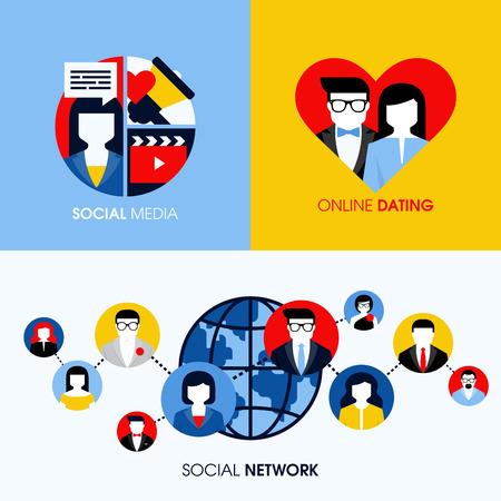 Réseau social, les médias sociaux et en ligne datant concepts plats modernes