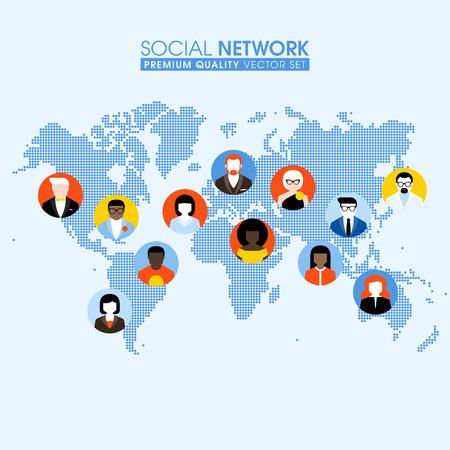 点線の世界地図上の人々 のコミュニケーションと社会的ネットワークの平らな概念