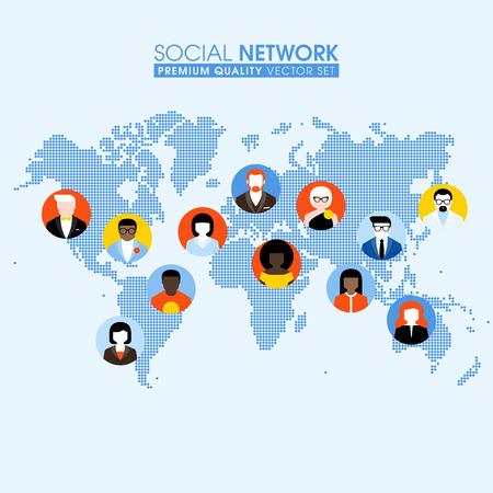 Social network flat concept with communicating people on a dotted world map Çizim
