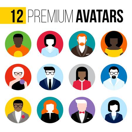 professions lib�rales: Avatars plats modernes fix�s.