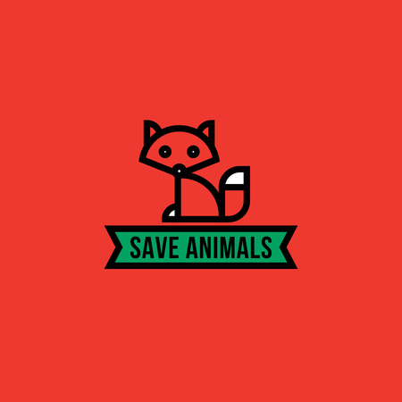 fox fur: Save the animals concept with red fox Illustration