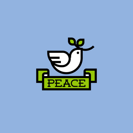 Peace dove with green branch Vector