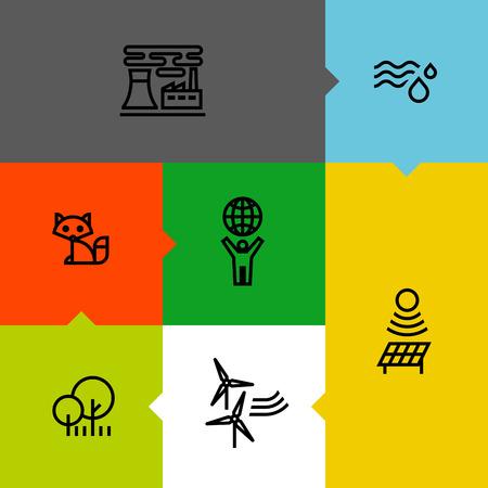 antipollution: Ecolog�a, verde, y la l�nea de medio ambiente iconos conjunto Vectores