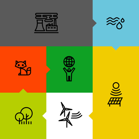 Ecology, green, and environment line icons set Vector