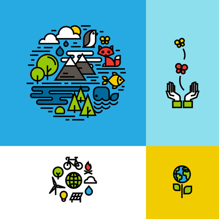 Environment, ecology, green planet colorful concepts set Vector