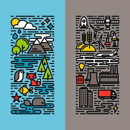 medioambiente: Verde, ecolog�a y medio ambiente de la l�nea plana iconos conjunto