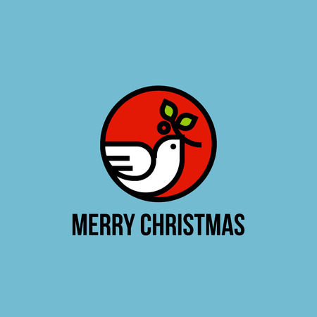 Christmas dove of peace with holly branch flat line icon Vector