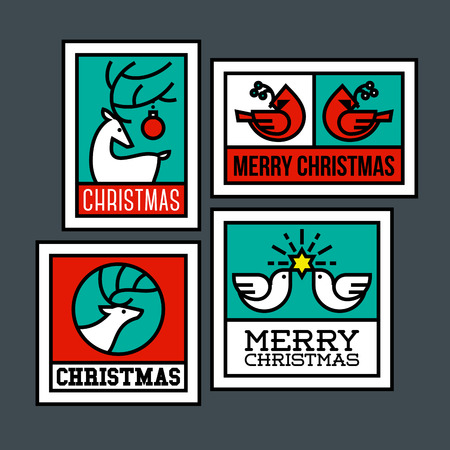Deer, elk, cardinal bird and dove of peace with star. Traditional symbols of Christmas Vector