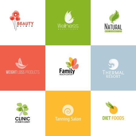Set van moderne schoonheid en natuur pictogram sjablonen en iconen Stock Illustratie