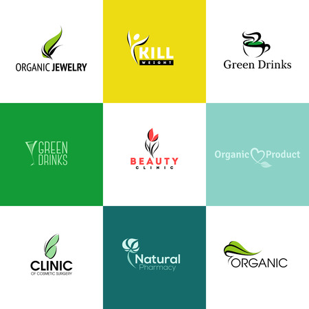 Set of modern natural and organic products icon templates and icons