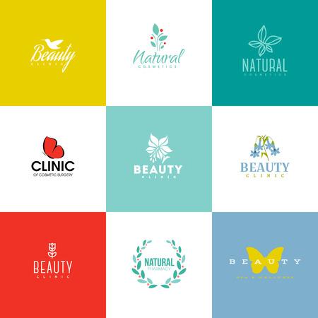 productos de belleza: Conjunto de modernos de belleza y insignia de la naturaleza plantillas e iconos