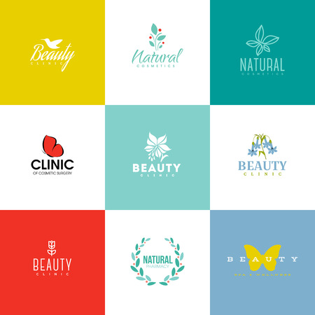 cosmetic beauty: Set of modern beauty and nature logo templates and icons