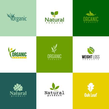 Conjunto de moderno plantillas de productos naturales y orgánicos logo e iconos