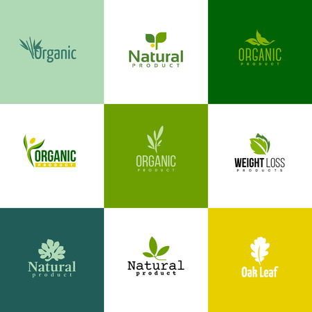 flat leaf: Set of modern natural and organic products logo templates and icons