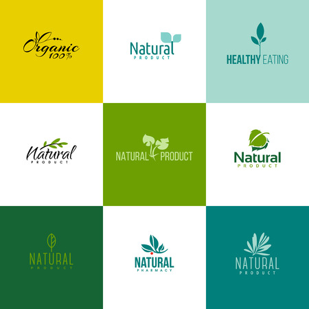 Set of natural and organic products icon templates. Icons of leaves and branches
